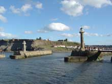 View of piers at entrance to Whitby Harbour